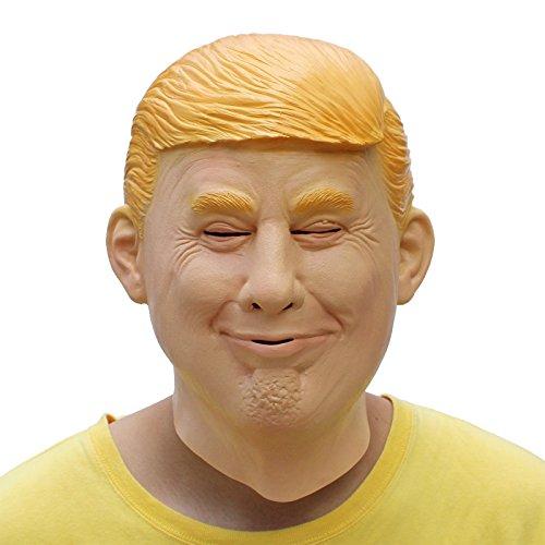 PartyCostume Deluxe Neuheit-Halloween-Kostüm-Party-Latex-menschliche Hauptmaske Masken Donald Trump (Für Deluxe Erwachsene Latex Kuh Maske)