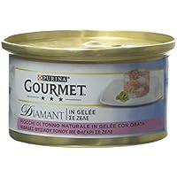 Gourmet Purina Diamant Umido Gatto Fiocchi di Tonno in Gelée con Orata - 24 Lattine da 85 g Ciascuna (Confezione da 24 x 85 g)