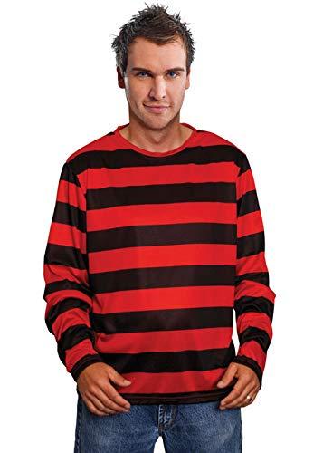 Magic Box Int. Mens Rot gestreiftes Freddy Krueger Style Top (Freddy Krueger Top)