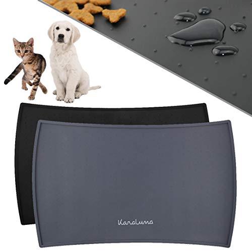 KaraLuna Napfunterlage 60x40cm für Katze und Hund I Aus hochwertigem Silikon mit hohem Rand I Wasserdicht & Rutschfest I Fressnapfunterlage (60x40cm, Grau)