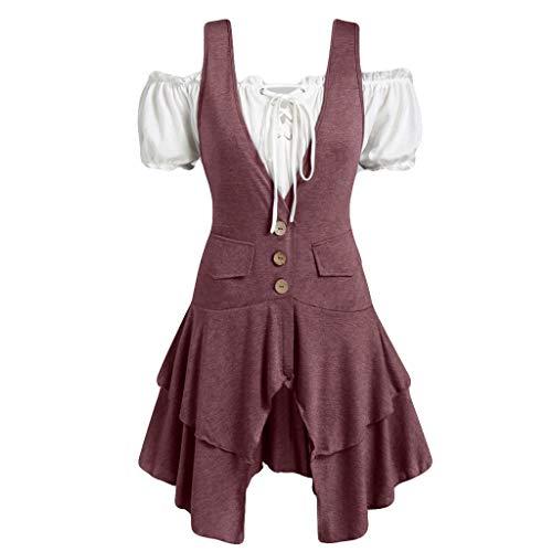 BCFUDA Damen Mode Schulterfrei Kleid Layered Plus Size Bluse Kurzarm Knopf Casual T-shirt Bandage Tank Top Unregelmäßig Hem Kleid -