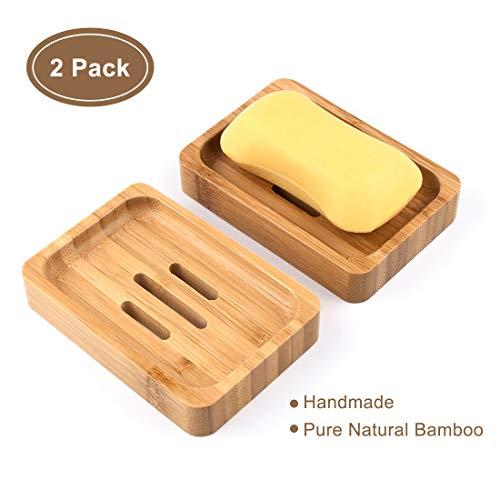 Guansky 2 Paquetes Jabonera Jabonera de Madera Natural bambú Bandeja de jabón para Ducha de baño Fregadero para jabón, esponjas y más