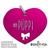 Pferde Glücksmarke Herzmarke '#Püppi' in pink von Soulhorse fürs Halfter, Trense und Zaumzeug