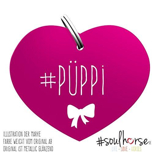 Soulhorse Pferde Glücksmarke Herzmarke #Püppi in pink fürs Halfter, Trense und Zaumzeug