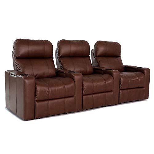 Zinea Kinosessel Baron - 3 Sitzer - Premiumleder, elektrisch verstellbar, LED Becherhalter, Ambientebeleuchtung, Kinosofa, Kinositz - Sofort Lieferbar