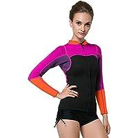 b0067098fa5f5 KXCFCYS Women s 2mm Neoprene Wetsuits Jacket Long Sleeve Wetsuit Top  Surfing Suit Modest Swimwear