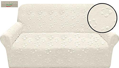 Copridivano GIOTTO bielastico elasticizzato salvadivano misura 4 posti PANNA made in Italy