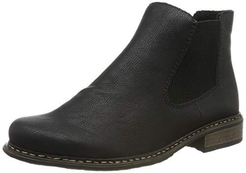 Rieker Damen Stiefeletten Z4994, Frauen Chelsea Boots, Schlupfstiefel gefüttert Winterstiefeletten Frauen weibliche,schwarz/schwarz,39 EU / 6 UK