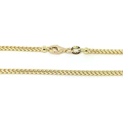 Oro giallo 18kt/7501.30mm rettangolo tubo catena Franco–lunghezza a scelta