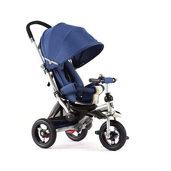 GSDZSY - 3 IN 1 Children Kids Tricycle, Seat Adjustable, Baby Can Sit Or Lie Flat, Push Rod Can Control The Direction, Rubber Wheel, 1-6 Years Old GSDZSY ❀ Material: High carbon steel + ABS + rubber wheel, suitable for children from 6 months to 6 years old, maximum load 30 kg ❀ Features: The push rod can be adjusted in height, the seat can be rotated 360, the backrest can be adjusted, the baby can sit or lie flat; the adjustable umbrella can be used for different weather conditions ❀ Performance: high carbon steel frame, strong and strong bearing capacity; rubber wheel suitable for all kinds of road conditions, good shock absorption, seat with breathable fabric, baby ride more comfortable 1