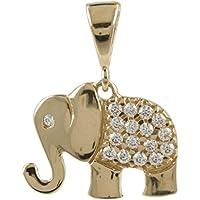 "Colgante""Elefante"" en oro amarillo y circonitas - Gioiello Italiano"