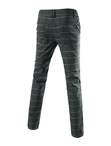 Allegra K Hommes Vintage Plaid Contrôles Fenêtre Vitrée Gabarit Tissés Teinté Plat Avant Pantalon Gris Foncé