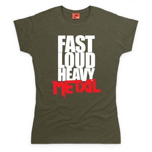 Heavy Metal T-Shirt, Damen Olivgrn