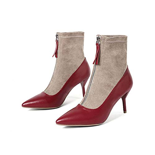 Frauen Boots Ladies Zipper Pointed Toe Stiletto Red Black High Heels Sexy Ankle Frauen Stiefel Party Shoes Platform Faux Lace Boots,Rot,36EU -