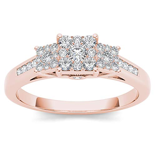 10CT Rose Gold Round Cut Diamond Engagement Ring Size 6 (0.33ct/ SI2,H-I) (Diamond Rose 10k Ring Gold)
