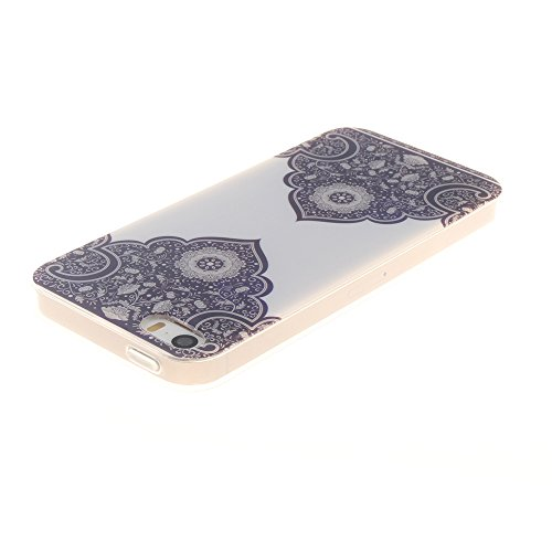 "Apple iphone 5/5s SE 4.0""hülle,MCHSHOP Ultra Slim Skin Gel Schlank TPU Case Schutzhülle Silikon Silicone Schutzhülle Case Back Cover für Apple iphone 5/5s SE 4.0"" - 1 Kostenlose Stylus Pen (Lovely Pan Blue and White Porcelain"