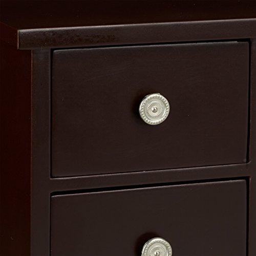 Relaxdays Schmuckkästchen mit Tür HxBxT: ca. 30 x 26 x 11 cm großer Schmuckkasten mit 4 Fächern Schmuckschrank aus Holz mit Schubladen und Spiegel Schränkchen mit Schmuckhalter für Ketten, dunkelbraun - 6