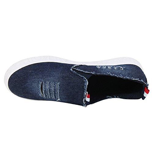 Modische Damen Sneakers | Bequeme Slip-ons| Funkelnde Glitzerapplikationen | Angesagte Plateausohle | Gr. 36-41 Dunkelblau