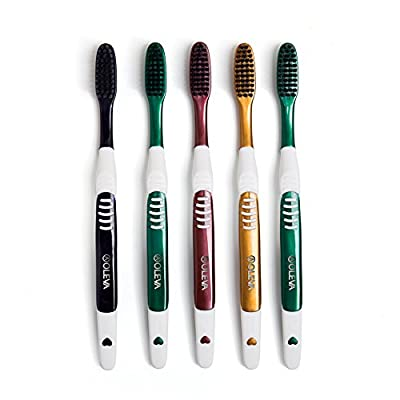 AOLEVA Adult Soft Black Charcoal Bristles Manual Toothbrush Deep Clean Family Set 5 Count Color May Vary