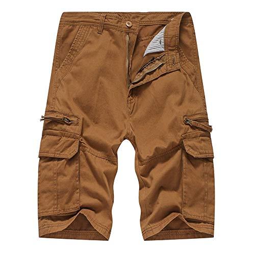LEORTKS Herren-Shorts, Freizeithose für den Strand, mit Streifen im Freien, für Herren, Braun 38