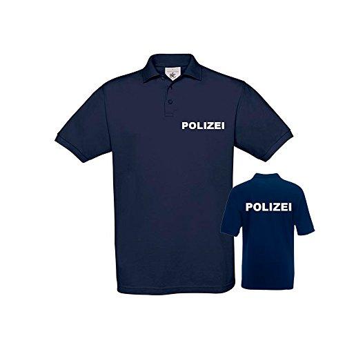 POLIZEI POLO-SHIRT Navy Blue - Brust & Rücken bedruckt, T-Shirt Größe:XXL