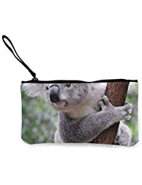 Women and Girl Cute Koala Bear Canvas Coin Purse Zipper Pouch Wallet for Cash Bank Car