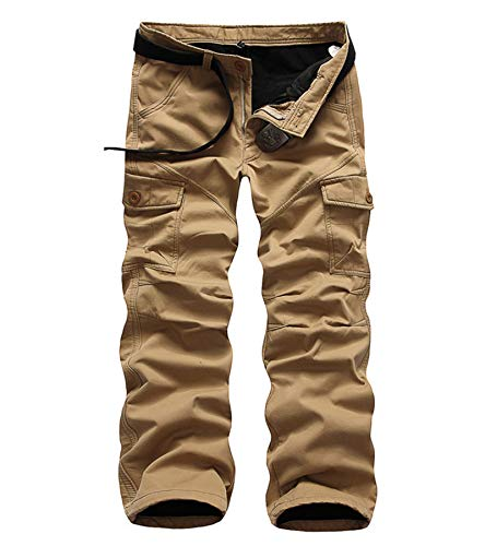 AYG Winter Velour Hose Warm Herren Cargo Pants(Khaki,31)