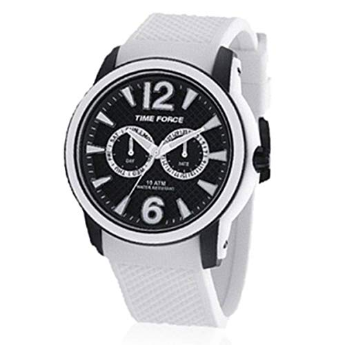 Time Force TF4182M18 - Reloj con correa de caucho para hombre, color blanco/gris