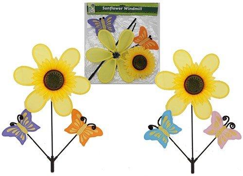 Jumbo Sonnenblume Windrad und zwei Schmetterlinge (Jumbo-winkel)