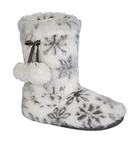 New Ladies Soft Faux Fur Lined Warm Slipper Boots Booties (UK 3/4, Snowflake - Design 1)
