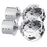 TEZ Kristall Glas Gardinenstange Endstücken, klar Facettenschliff Ball Kristall Kopf - 60 mm Kristall dia - Verkauft als Paar - Finish: Chrom glänzend - geeignet für Stangen bis zu 30 mm...