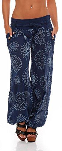 Malito Damen Pumphose mit Print | leichte Stoffhose inkl. Gürtel | Bequeme Freizeithose | Haremshose - lässig 3481 (dunkelblau)
