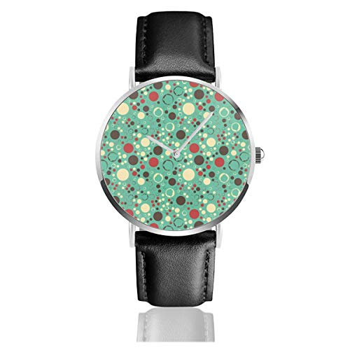 Business Analog Watches,Dots and Spots Classic Stainless Steel Quartz Waterproof Wrist Watch with Leather Strap