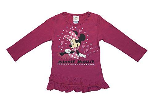(Mädchen Langarm-Shirt Disney Minnie Mouse, Oberteil lang-arm in GRÖSSE 80, 86, 92, 98, 104, 110, 116, Longsleeve mit Rüschen-Bund, Sweat-Shirt mit süßem Motiv und Pailetten Color Weiss, Size 86)