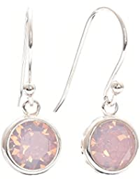 pewterhooter 925 Sterling Silver fishhook earrings expertly made with Rose Water Opal crystal from SWAROVSKI® in a channel setting. London box
