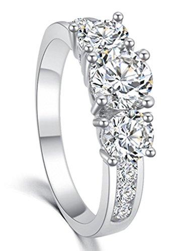 SaySure - 18K gold SWA Crystal CZ Diamond Ring Engagement (SIZE : 8) - Diamond Ring: Platinum Diamond Band