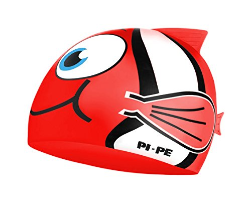 PI-PE Kinder Badekappe Fishy (Rot, One Size)