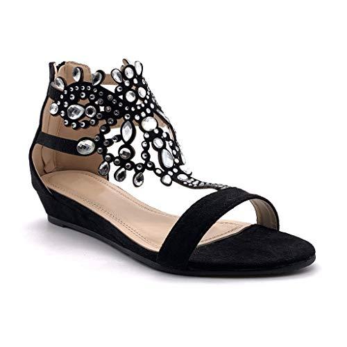 Angkorly - Chaussure Mode Sandale Plate Ouvert Oriental Femme Diamant Bijoux Strass Diamant Talon compensé 3 CM - Noir - P216 T 39