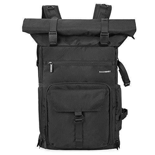 BAGSMART Kamerarucksack Professionel DSLR SLR Kameratasche mit Gegenschutz für 200-400mm Objektive, 15,6 Zoll Laptop,DJI Mavic Pro, Schwarz