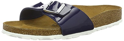 BIRKENSTOCK Unisex Madrid Birko-flor Pantoletten Narrow Fit , Blau (Dress Blue  Lack) , 38 (Schmal)