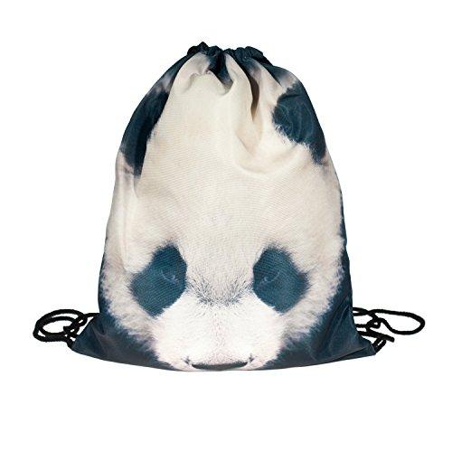 Loomiloo Fullprint Panda Animal Tier Turnbeutel Rucksack Beutel Jutebeutel Tüte String Bag Aufdruck Muster Print (String Animal-print)