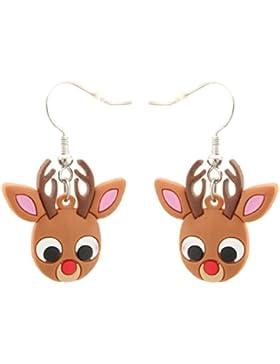 Zest Brown Ohrringe Gummi Design Rudolph das Rentier für Ohren mit Ohrlöchern