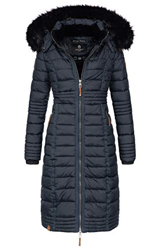 Navahoo Damen Wintermantel Mantel Steppmantel Winter Jacke lang Stepp warm Teddyfell B670 [B670-Uma-Navy-Gr.L]