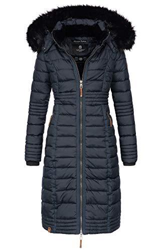 Navahoo Damen Wintermantel Mantel Steppmantel Winter Jacke lang Stepp warm Teddyfell B670 [B670-Uma-Navy-Gr.S]
