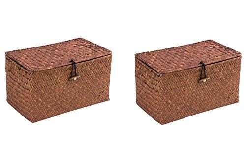 WOOD MEETS COLOR Cuadrado Cesto de Almacenaje de Mimbre Caja de Almacenaje Con Tapa 24cmx14cmx13cm (Marron x2)