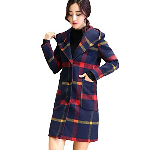 Rosennie Damen Hooded Plaid Mantel Fashion Woll Mantel Jacket mit Tasche Long Sleeve Knopf Jacken Elegantes Outwear Lange Cardigan Trench Coat Frauen Oversized Kapuzenjacke (Rot,XL)