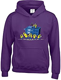 Funny Despicable Minions Dr Who Inspired Kids Hoodies Available in multiple Colours And Sizes. FREE DELIVERY INCLUDED.