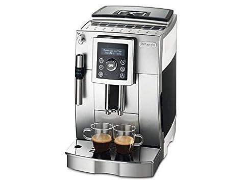 De'Longhi ECAM 23.420.SW Kaffeevollautomat (Digitaldisplay, Profi-Aufschäumdüse, Kegelmahlwerk 13 Stufen, Herausnehmbare Brühgruppe, 2-Tassen-Funktion) silber/weiß