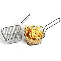 gaeruite - Mini cestas de acero inoxidable cuadradas para servir alimentos fritos para fritos franceses, aperitivos de malla, cesta de patatas fritas de pollo, color plateado, acero inoxidable, As Show, 4 pcs