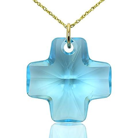 Collana croce in oro massiccio 9e cristallo Swarovski blu acquamarina, 16, 18,